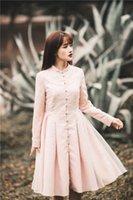 Wholesale lace coat dress design womens winter vintage coats parka femme top coat gothic victorian coats women trench dress slim