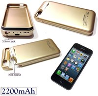 iphone 5 charger case - 2200mAh External Battery Backup Charger Pack Power Gold Black Case for apple iPhone S C Carregador Cellphone Rechargeable