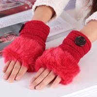 Wholesale Warm imitation fur shipping specials female threaded button half that warm plush wool knit gloves N0124