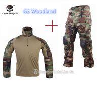 Cheap Wholesale-hunting clothing Emerson G3 uniform Woodland BDU Combat shirt Pants Airsoft Military Teflon BDU WL