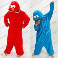 adult onesie - Hot Sale Unisex Onesie Hoodie Long Sleeve Cosplay Pajamas reet Elmo cookie monster Costume Adult romper pajamas costume onesie
