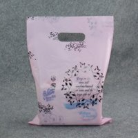 Wholesale 90Pcs cm Plastic Boutique Packaging Pack Bag Light Pink Flower Gift Jewelry Shopping Carrier Hand Package Bag