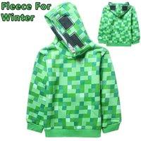 fleece clothing - 6 Y Big boy Winter Minecraft Creeper Fleece Hoodie Long Sleeved cartoon boys kids Fleece Hoodies clothes C001