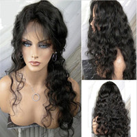 Wholesale Natural looking full lace wigs water wave brzilian virgin human hair front lace wigs density with babay hair