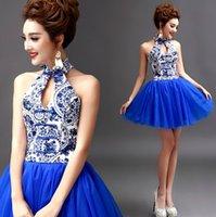 Wholesale 2015 new blue and white sexy halter bride wedding toast wedding dress blue bridesmaid dress short paragraph