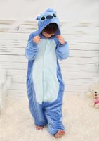 Wholesale drop shipping new Blue stitch Anime Cosplay Kids Children Boy Girl Unisex Pajama Onesie Party Halloween Costumes Dresses Jumpsuits