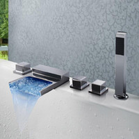 Wholesale High Quality Luxury New Arrival Square Waterfall led Tub Faucet Mixer Taps