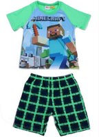 Cheap large baby pajamas summer new minecraft baby sleepwear suit 6-12y boy-kids t-shirts+Pants 5sets lot minecraft clothes minecraft pyjamas