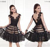 Cheap Evening dress Best black lace short prom 2015 Tarik Ediz