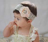 elastic band - Baby Lace Headbands satin Flower Headbands Thin Elastic Bands Toddler Girls Newborn Headbands Hair Band