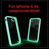 Wholesale Luminous Acrylic Cell Phone shell For Apple iphone S Case For iPhone4S iPhone4 G Transparent Protective Cover SSSSJJVVV77