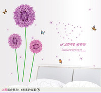 bedroom sets - New hot Purple dandelion Sofa sitting room bedroom TV setting wall stickers cm