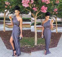 one shoulder black evening dress - 2015 Simple Evening Dresses One Shoulder Chiffon Satin Sheath Long Silver Gray Plus Size Prom Dresses Split Front Spring Formal Dresses