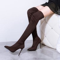 Cheap Rilihong®Boots for Women High Heels Boot Stiletto Heel Fashion Boots Pointed Toe Boots Dress Casual Black Red  Gray Brown Winter Snow Boots