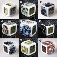 Wholesale 8 styles Alarm Clocks Teenage Mutant Ninja Turtles LED Change Digital Alarm Clock Thermometer Night Colorful Glowing Clock Toys CHR
