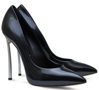 Wholesale 2015 Brand New Women pumps Genuine Leather Kim Kardashian sexy High metallic Heels Thin Heels Slip On Wedding Party Women Shoes size