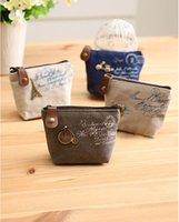 Wholesale Mini Wallet Change Pocket Vintage Canvas Bag Paris Eiffel Tower Fasion Lovely Mini Wallet With