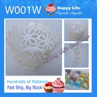 Wholesale Hot Sale W001W White Flower Shape Filigree Cake wrappers Wedding Cupcake Wrappers