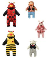 Wholesale 30pcs Baby Rompers Animals Design Long Sleeve Jumpsuits Rompers climbing clothing children clothes HX