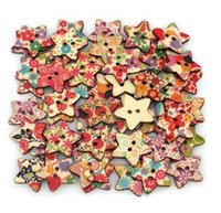 Buttons   Star Shaped Painted 2 Hole Wooden Buttons 25mm x25mm