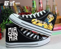 fabric painting - 2016 New fashion Despicable Me High help lace up Canvas Shoes Minions Hand painted shoes Men and women pantshoes Casual Shoes