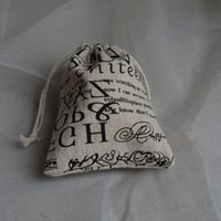 Wholesale Linen Drawstring bags Vintage Letter Printed cmx12cm quot x4 quot two style mix Party Favor holder Fashion Jewelry