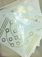 Wholesale The new hot stamping flash metal tattoos as gold and silver necklace can be customized