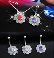 Wholesale 1 Clear crystal Sexy Belly Button Ring navel piercing ring Full drill belly Navel ring piercing barbell surgical steel hear