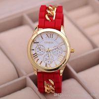 chain hooks - 2015 new style Geneva Silicone Band Gold Alloy Chain Women casual Watch men Quartz Wristwatch ladies women Jelly watch