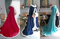 hooded cloak - 2016 New Arrival Faux Fur Wedding Capes Hooded Navy Blue Red Plush Wedding Cloak Long Bridal Cloaks Jacket Wedding Dresses Accessories