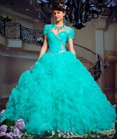 masquerade ball gowns - ROMAN EMPIRE BALL GOWN SWEETHEART BEADING RUFFLES Beading Corset Charming Ruffled Organza Turquoise Quinceanera Dresses Masquerade Ball Gown
