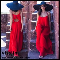 Wholesale Casual Dress Pant Legs - Holiday Siamese Pants Female Summer Was Thin Chiffon Yarn Dress One-piece Jumpsuit Wide Leg Pants Red Trousers