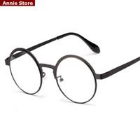 antique eyeglasses - New high quality antique retro round eyeglasses metal frame men large vintage round glasses frames women UV black oculos redondo