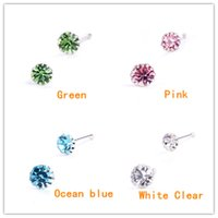 Wholesale ANTI ALLERGIC REAL S925 STERLING SILVER NOSE STUDS INLAID WITH CZECH DIAMOND PIERCING JEWELRY FOR WOMEN GIRLS
