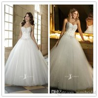 Wholesale Cheap Customized Made Ball Gowns Sparkling Strapless Beaded Embrioderies Bodice Natural Waist Lace Up Floor Length Wedding Bridal Dresses