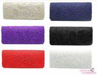 Wholesale 2016 New Satin Evening Bag Satin Lace Bridal Packages Clutch Bag Handbag Women Evening Party Clutch Bags Royal Purse Handbags Messenge Bag