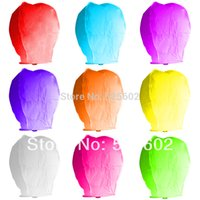 Cheap 200PCS LOT 9COLORS MIX Chinese Festival Balloon UFO Lamp Kongming Wishing Sky Lanterns Wedding Party Paper Lights with UPS