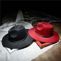 Wholesale New Stylish Womens Hats Decoration Chain Imitation Wool Hat Jazz Flat Vintage Hat Dress Hats For Women