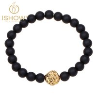 africa pendant gold - Fashion Africa Style Bracelets High Quality Natting Agate Beaded Bangle Gold Lion Head Alloy Charm Pendant Bracelet