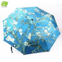 beach umbrella paintings - World Famous Oil Paintings Outdoor Beach UV Sun Rain Umbrella Women And Men Unisex Automatic Three Folding Umbrellas