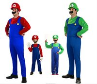 Wholesale Men Women Funy Cosplay Costume Super Mario Luigi Brothers Plumber Fancy Dress Up Party Costume Cute Kids Costume