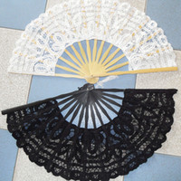 lace hand fan - 2015 Cheap Bamboo Lace Hand Fans White Ivory Black Handmade Embroidered Lace Sun Wedding Party Decoration Shows Dance In Stock