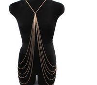 body chain - Hot Sexy Body Chain Jewelry Summer New Body Chains k Gold plated Cross Multilayer Tassel Beach Bikini Body Chain for Women BC190001