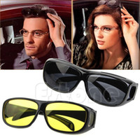 Wholesale On Sale PC HD Night Vision Unisex Driving Sunglasses Yellow Lens Over Wrap Around Glasses