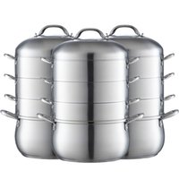 Wholesale casserole with steamer cooking pot inox flavor of nutrition steamer high efficiency stainless steel multi layer food steamer