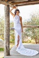 sleeveless halter top - Halter Top Wedding Dresses Designer Beach Bohemian Keyhole Back Drop Waist Long Train White Mermaid Sheath Bride Gown with Front Split