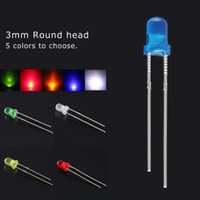 3mm led - 3mm diffused Round LED kit Red Green Blue Yellow White five colors Led Lamp combination packaging kit