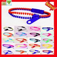 achat en gros de bracelets hip zipper-Vente en gros Candy Zipper Bracelet deux tons double couleur hip hop plastique Zip Bracelet bracelet populaire Bracelet Zipper Bracelet couleur mixage