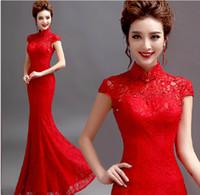 formal dresses - Red lace cheongsam dress bridal short sleeve bridal wear fish tail cheongsam formal dress