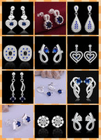 Wholesale 50pairs mixed style sterling silver Sapphire Earrings best gift